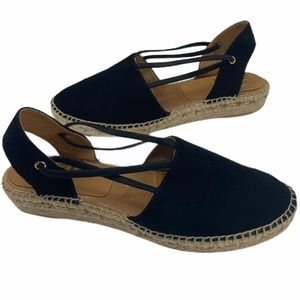 Kanna Black Suede Leather Espadrille Flats